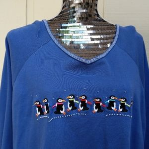 Vintage 1X 1990s Christmas penquin blue sweatshirt